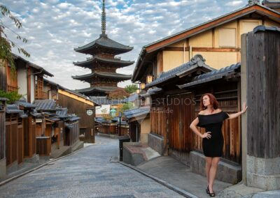 glamour model photographed in Kyoto, Japan