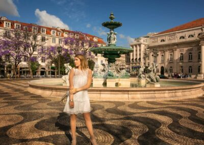 glamour model photographed at Rossio Square, Lisbon