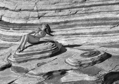 nude fine art glamour model at Five Wave, Valley of Fire State Park, Nevada