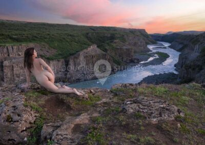 nude glamour model at sunset at Olfusa River Canyon, Gullfoss Gorge, Iceland