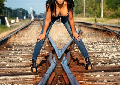 glamour model on railroad tracks in Plymouth, Michigan