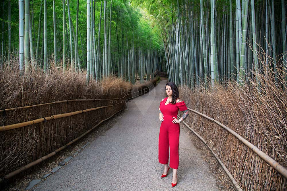 glamour model in Arashiyama Bamboo Grove, Kyoto, Japan