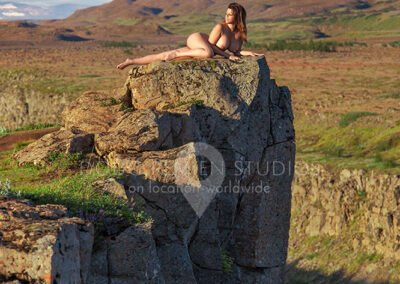 nude glamour model in Olfusa River Canyon, Gullfoss Gorge, Iceland
