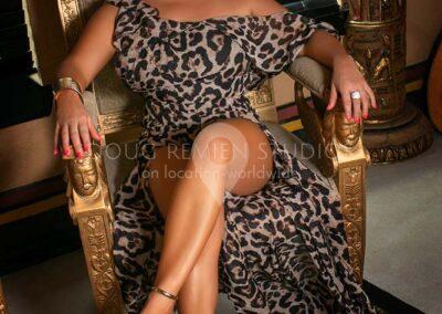 glamour model in leopard skin dress in Houston, Texas