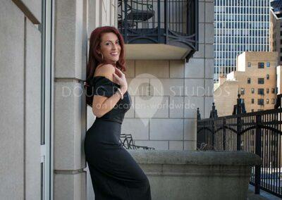 glamour model in black dress in Chicago, Illinois