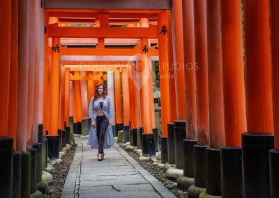 glamour model at Fushimi Inari Shrine, Kyoto, Japan