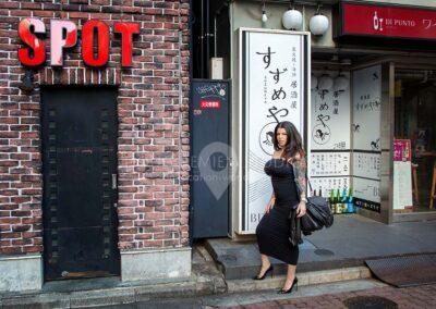 glamour model in Shibuya, Tokyo, Japan