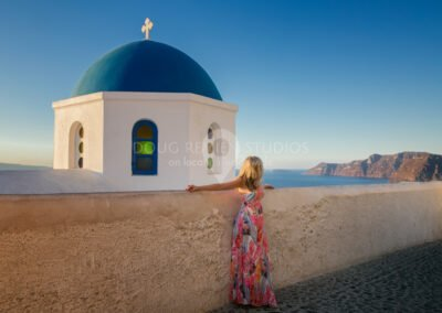 glamour model in Oia, Santorini, Greece