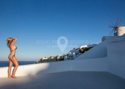 glamour model in Oia, Santorini, Greece