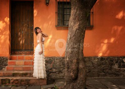 glamour model in white dress in Coyoacán, Mexico