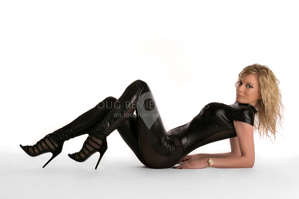 glamour model in black catsuit in Houston, Texas
