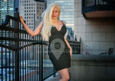 blonde glamour model in dress in Chicago, Illinois