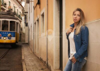 glamour model and trolley in Alfama, Lisbon, Portugal