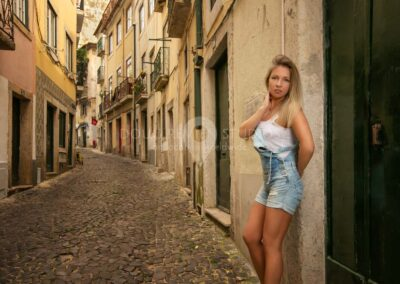 glamour model in Alfama, Lisbon, Portugal