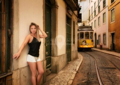 glamour model and trolley at Alfama, Lisbon, Portugal