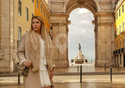 glamour model at Arco da Rua Augusta, Baixa, Lisbon, Portugal