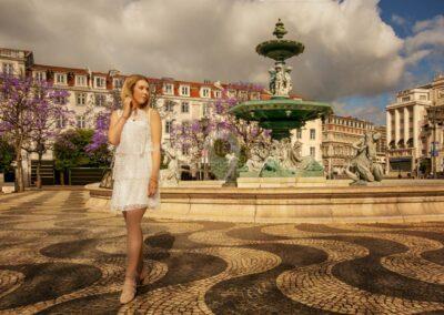 glamour model at Rossio Square, Baixa, Lisbon, Portugal