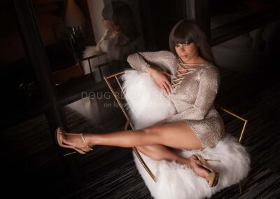african american glamour model in dress