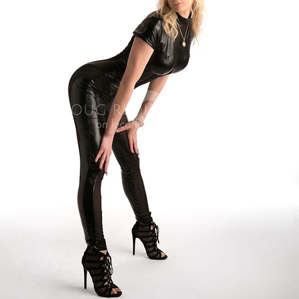 glamour model in black catsuit