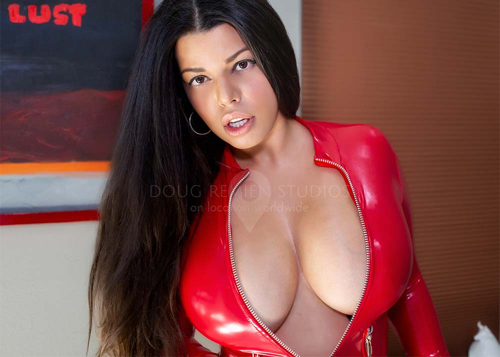 glamour model in red latex
