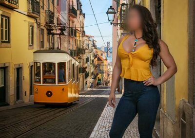 glamour fashion model in Lisbon, Portugal